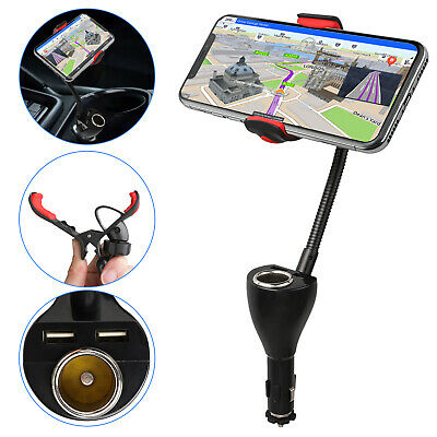 2 USB 360° Car Charger Holder Mount Stand +Cigarette Lighter
