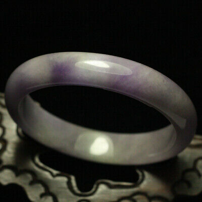 59mm Certified Grade A Natural Lavender Purple Jadeite JADE Bracelet Bangle 1381