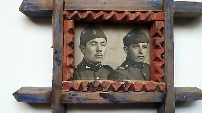 OLD ANTIQUE PRIMITIVE HAND CARVED WOODEN FRAME WITH OLD PHOTO 1910s