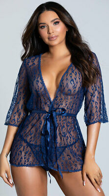 One Size Fits Most Womens Blue Leopard Lace Robe Set