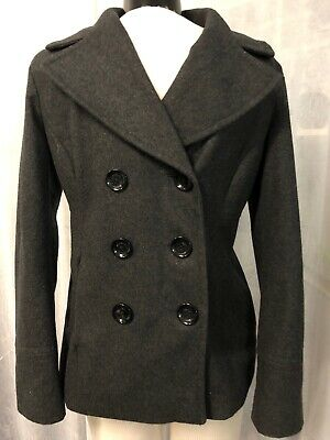 Michael Kors Womens Coat Charcoal Gray Peacoat Button Up Wool Blend Size Small