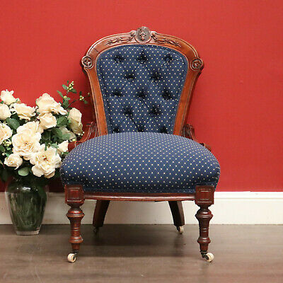 Antique English Walnut Button Back Grandmother Chair, Bedroom Chair Armchair