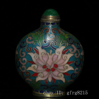 """3.4"""" Chinese antiques Pure copper Cloisonne Filigree snuff bottle"""