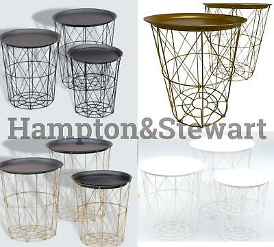 NEW Black Copper Metal Wire Basket Wood Top Home Metal Wooden Home Living