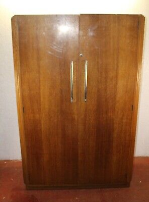 1930s Art Deco Oak 2 Door Wardrobe