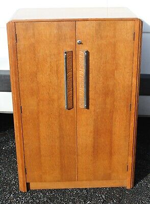 1930s  Art Deco Oak 2 Low Door Wardrobe/ Cabinet. Well Fitted.