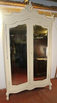1910's Large Carved White Painted 2 Door Louis XV style Mirrored Armoire