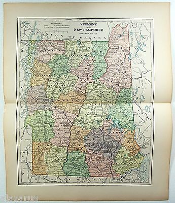 Original 1891 Map of Vermont and New Hampshire by Hunt & Eaton. Antique