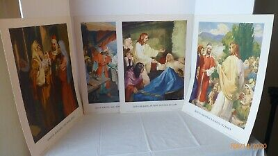 Vintage Concordia Sunday School Teaching Pictures Prints NewTestament Set of 4