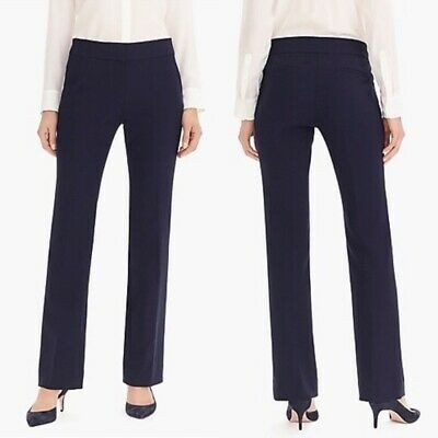 J. Crew Sz 8 Edie Trouser Full Legth Mid Rise Navy Pant Career Suiting Stretch