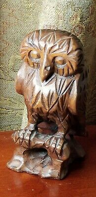 "Beautiful Wooden Hand Carved Owl - Dark Brown - 6"" Tall"