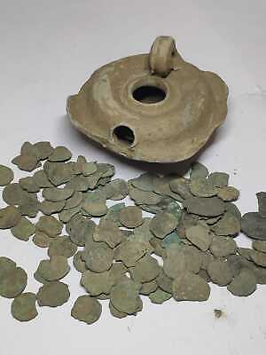 Oil lamp Roman coins treasure ANCIENT Vase Greek Attic Terracotta