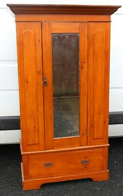1910- Antique Pine Mirrored 1 Door Wardrobe with large Drawer. All Hanging.
