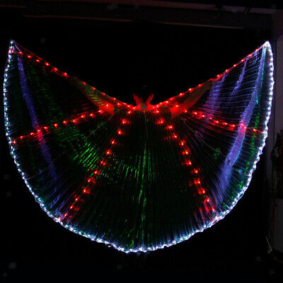 Shiny LED Isis Wings Cape with two Sticks Fairy Luminous Dress Wings Dance Wear