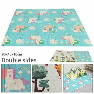 200X180CM Baby Play Mat Crawling Playmat Double Sides W/Animal & Alphabet