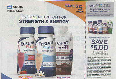 Lot of 8 coupons: Save $5.00 on Any TWO (2) ENSURE Multipacks Exp. 04/12/2020