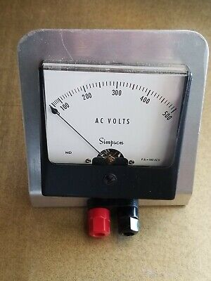 AC Volts Simpson Electric Company Analog Volt Meter 0-500 model 1357