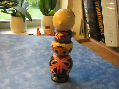 "VINTAGE JAPANESE TOGATTA WOODEN KOKESHI DOLL 7 1/2"" Tall Signed by Sato Kazuo"