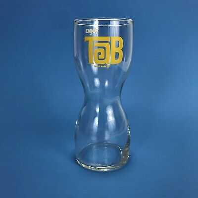 Collectible Enjoy Tab Trademark Curved Drinking Glass Vintage Hourglass Tumbler