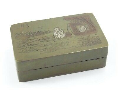 Antique 19th century Meiji Japanese bronze box & cover figures fishing signed