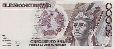 Mexico CUAUHTEMOC  $50,000 pesos Bank note 1990s