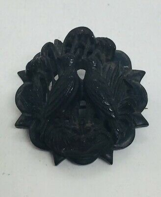 Antique Victorian Black Gutta Purcha Bog Oak Hand Carved Love Birds Pin