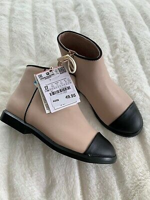 BNWT Zara Kids Shoes Boots Girls Booties Beige With Black Toe Leather 27 RRP$50