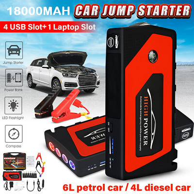12V Car Jump Starter Portable USB Power Bank Battery Booster Clamp 600A 18000mah