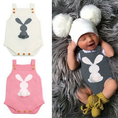 My 1st Easter Clothes Newborn Baby Boy Girl Bunny Rabbit Romper Jumpsuit Outfits