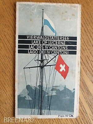 Vintage Pre WW2 1930's Tourist guide - Fold out map book LAKE OF LUCERNE