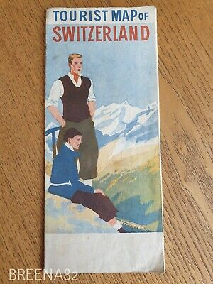 Vintage Pre WW2 1930's Tourist guide - Fold out map book SWITZERLAND