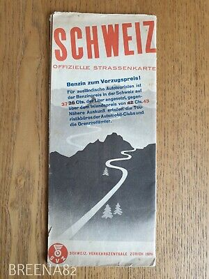 Vintage Pre WW2 1930's Tourist guide - shell oil ROAD map book SWITZERLAND 1935