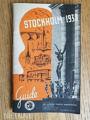 Vintage Pre WW2 1930's Tourist guide - Fold out map book SWEDEN STOCKHOLM 1938