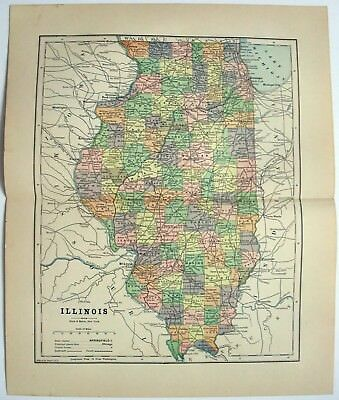 Original 1891 Map of Illinois by Hunt & Eaton. Antique