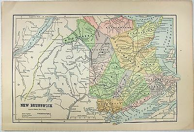 Original 1891 Map of New Brunswick by Hunt & Eaton. Antique