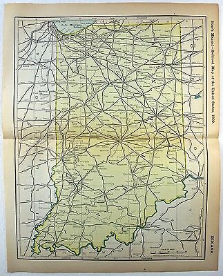 Original 1902 Dated Railroad Map of Indiana. Antique