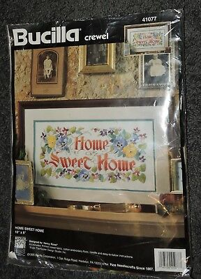 Home Sweet Home Pansy Crewel Embroider Panel Kit Printed Fabric Thread Bucilla