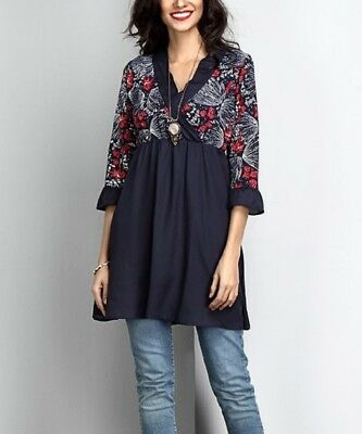 Chiffon Top Size 8 Navy Blue Floral Long Ladies Womens Tunic Blouse