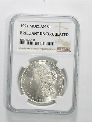 1921 Morgan Silver Dollar - Brilliant Uncirculated BU Unc - NGC Graded Last Year