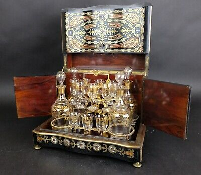 Beautiful 19th Century French Napoleon III Boulle Liquor Cabinet, gilt cristal