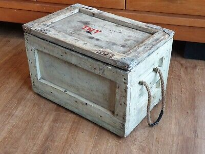 Vintage Rustic Small Wooden Storage Chest / Box