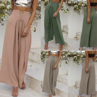 Women Palazzo High Waist Wide Leg Culottes Pants Yoga Harem Baggy Trousers nm