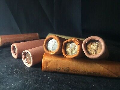 Rare Unsearched Bank Roll Lincoln Wheat Penny Cents 50 pennies 100% Guaranteedq