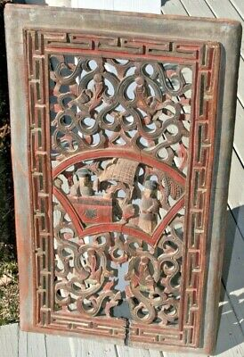 Carved Wood Architectural Panel Figures Asian Antique Chinese Polychrome Paint