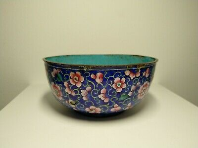 18/19th century antique Chinese Qing dynasty bronze painted enamel bowl