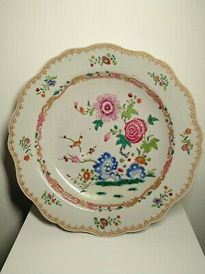 18th century antique Chinese Qing Qianlong Famille rose flower plate