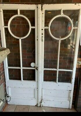 PAIR 1920s ART DECO ANTIQUE FRENCH DOORS HEAVY GEOMETRIC MULLIONS from old DFW