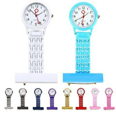 New Stainless Steel Nurses Watch Metal Pin Brooch Clip Quartz Pocket Fob  Watch