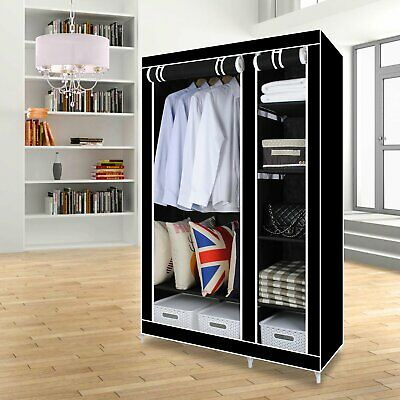 Double Black Canvas Wardrobe with Hanging Rail  5 Shelves Furniture/Bedroom