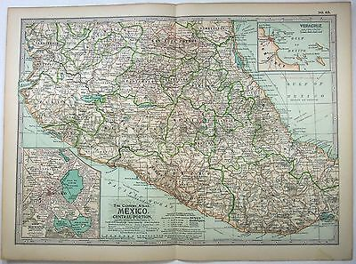 Original 1902 Map of Central Mexico by The Century Company. Antique
